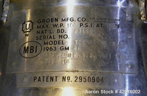 Used- Groen Vacuum Kettle, 5 Gallon (20 Quart), Model TDC-RA 20 QT-SP, 316 Stainless Steel. 12'' diameter x 13'' deep. Manua...