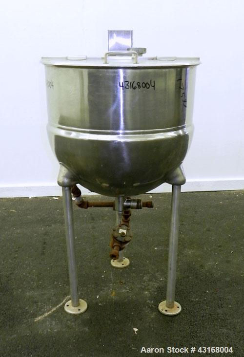"""Used- Kettle, 25 Gallon, 316 Stainless Steel, Vertical.  24"""" Diameter x 20"""" deep. Open top with a 1 piece hinged cover, 304 ..."""