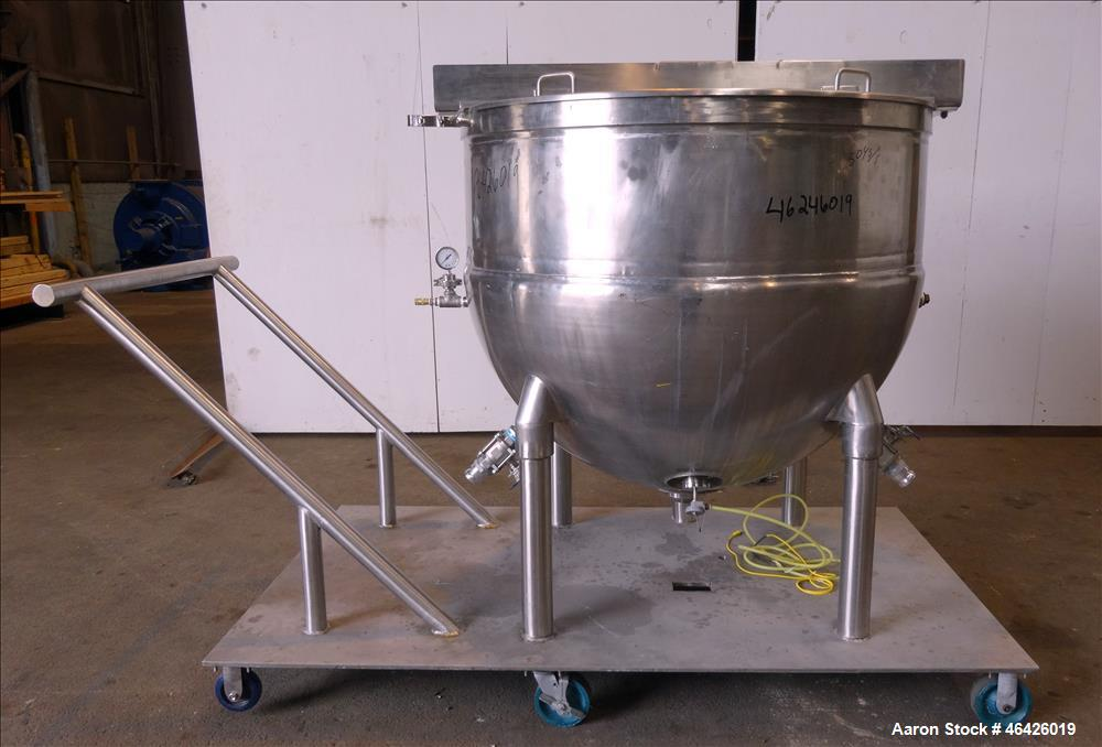 "Used- Groen Kettle, 300 Gallon, Model SA 300, 304 Stainless Steel. Approximate 54"" Diameter x 45"" deep. Open top, jacketed h..."