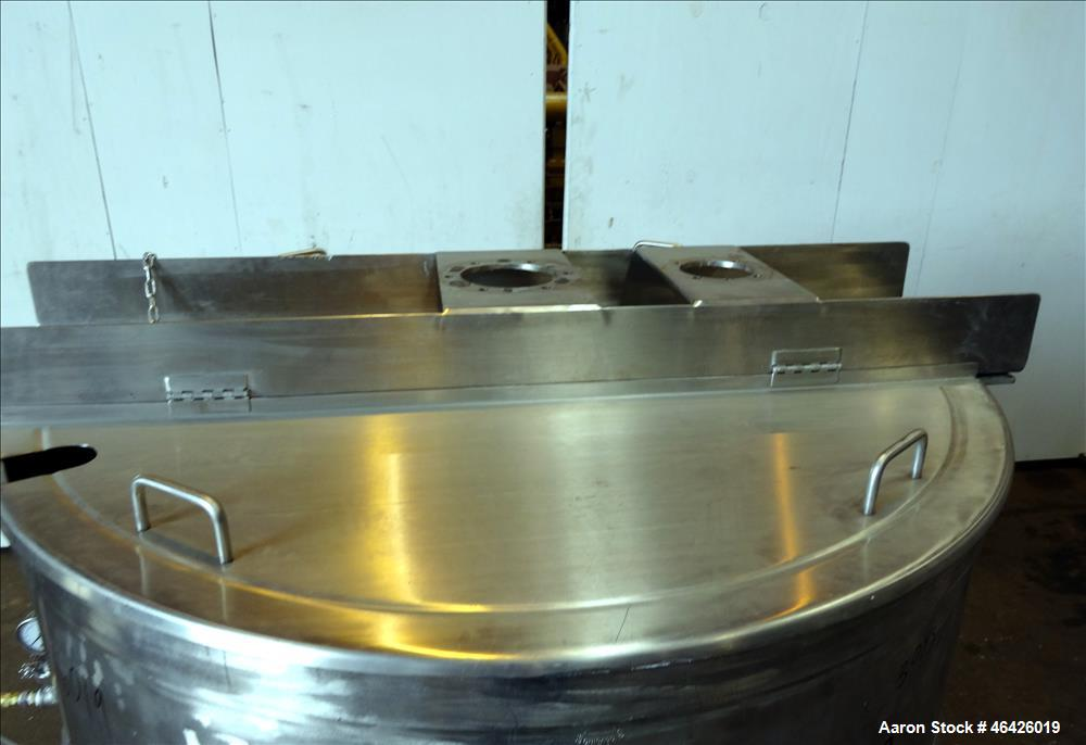"""Used- Groen Kettle, 300 Gallon, Model SA 300, 304 Stainless Steel. Approximate 54"""" Diameter x 45"""" deep. Open top, jacketed h..."""