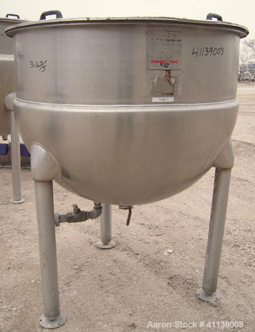 """Used- Hamilton Kettle, 200 Gallon, Style SA, 316 Stainless Steel, Vertical. 48"""" diameter x approximately 36"""" deep. Flat top ..."""