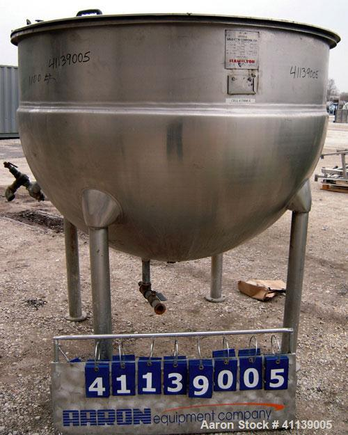 """Used- Hamilton Kettle, 500 Gallon, Style SA, 316 stainless steel, vertical. 66"""" diameter x approximately 44"""" deep. Flat top ..."""