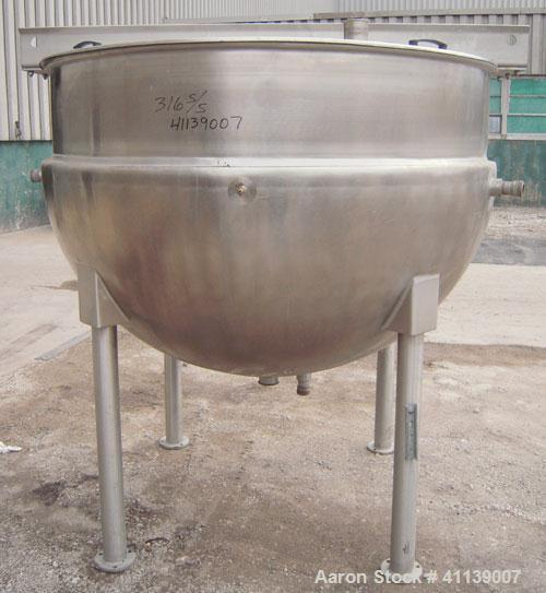 """Used- Hamilton Kettle, 500 Gallon, Style SA, 316  Stainless Steel, Vertical. 66"""" diameter x approximately 47"""" deep. Flat top..."""