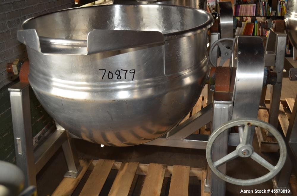 Used- 80 Gallon Stainless Steel Hamilton Jacketed Tilting Kettle