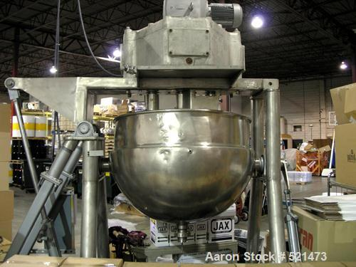 "USED: Hamilton kettle, 125 gallon, stainless steel, model CW. 42"" diameter x approximately 30"" deep. Jacket rated 125 psi at..."
