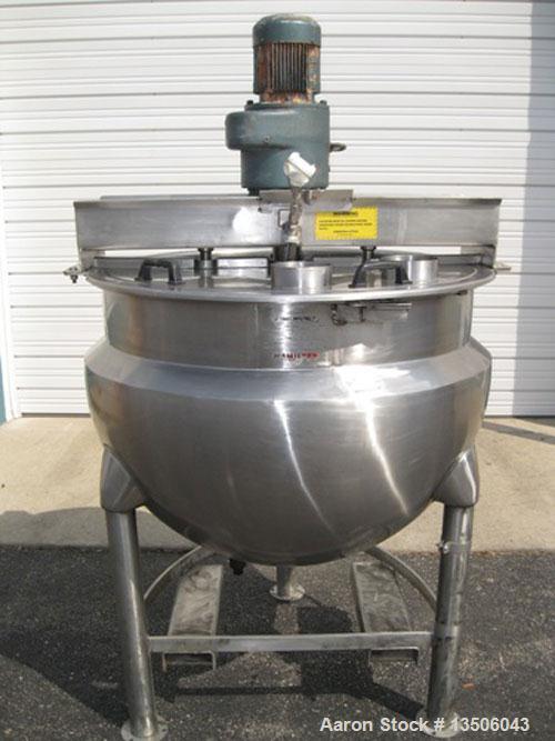 "Used-Hamilton SA 150 Single Motion Scraped Surface Kettle, 150 Gallon.  Approximately 44"" diameter x 33"" deep.  Bridge mount..."