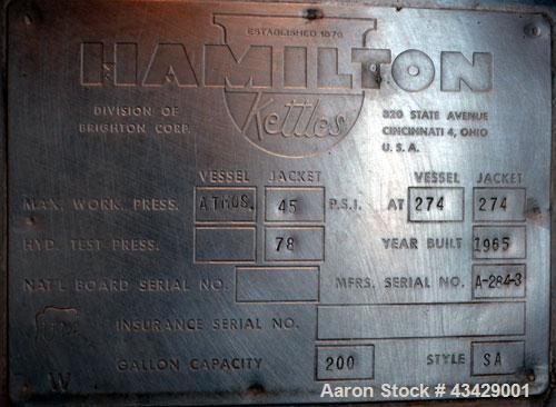 "Used- Hamilton Double Motion Kettle, 200 Gallon, Style SA, 304 Stainless Steel. Approximate 48"" diameter x 32"" deep. Open to..."