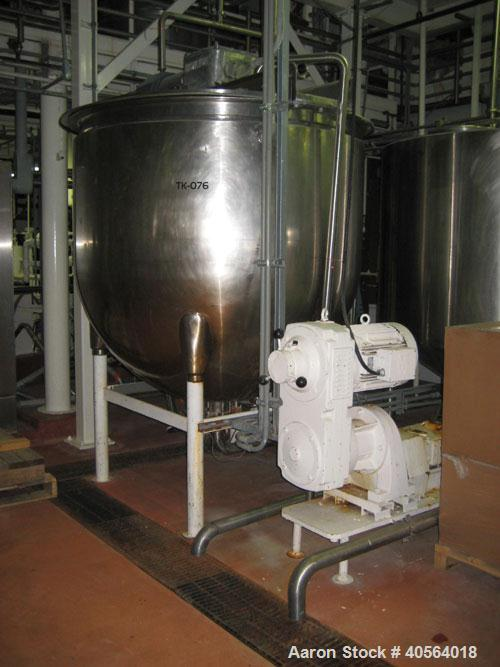 Used- 750 gallon Hamilton SA stainless steel double motion scraper agitated kettle. Jacket NB stamped for 90 psi at 320 deg ...