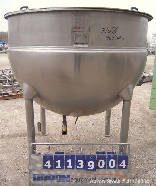 "Used- Hamilton Kettle, 500 Gallon, Style SA, 316 stainless steel, vertical. 66"" diameter x approximately 44"" deep. Flat top ..."