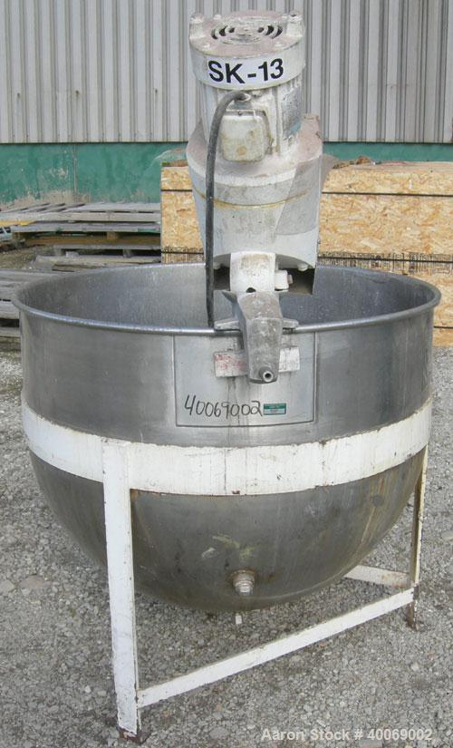 """Used:  Hamilton Copper and Brass Works 175 Gallon Kettle, 316 stainless steel, vertical.  44"""" diameter x approximately 34"""" d..."""