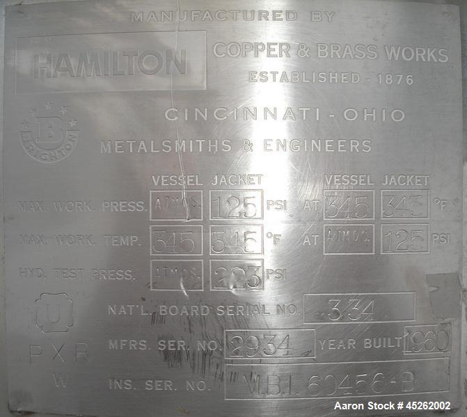 Used- Hamilton Steam Jacketed and Agitated Kettle