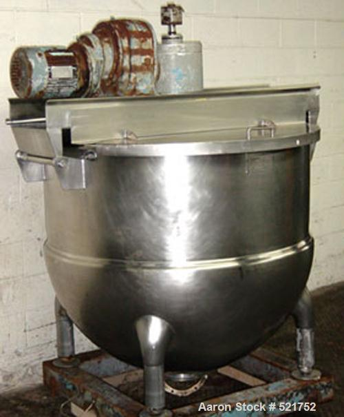 USED: Hamilton 300 gallon stainless steel cooking and mixing kettlewith double action scraper agitator, 45 psi jacket, measu...