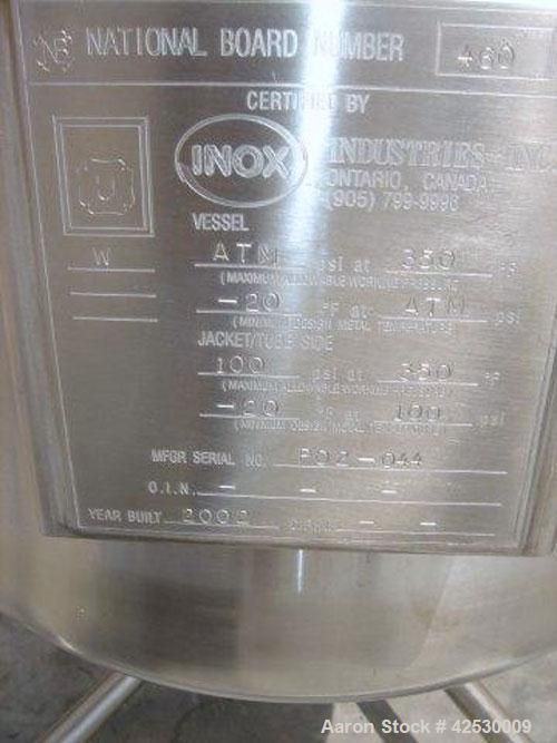 Used- Inox Industries Kettle, 20 Gallon, Stainless Steel, Vertical. Top cover, dished bottom. Internal rated atmospheric at ...