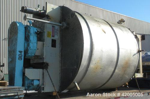 "Used- Iron & Steel Contracting Kettle, 3000 Gallon, 304 Stainless Steel, Vertical. 96"" diameter x 107"" straight side, flat b..."