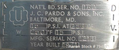 "Used- J.C. Pardo & Sons Dual Motion Vacuum Kettle, 250 Gallon, 316 Stainless Steel, Vertical. 48"" Diameter x 49"" deep. Inter..."