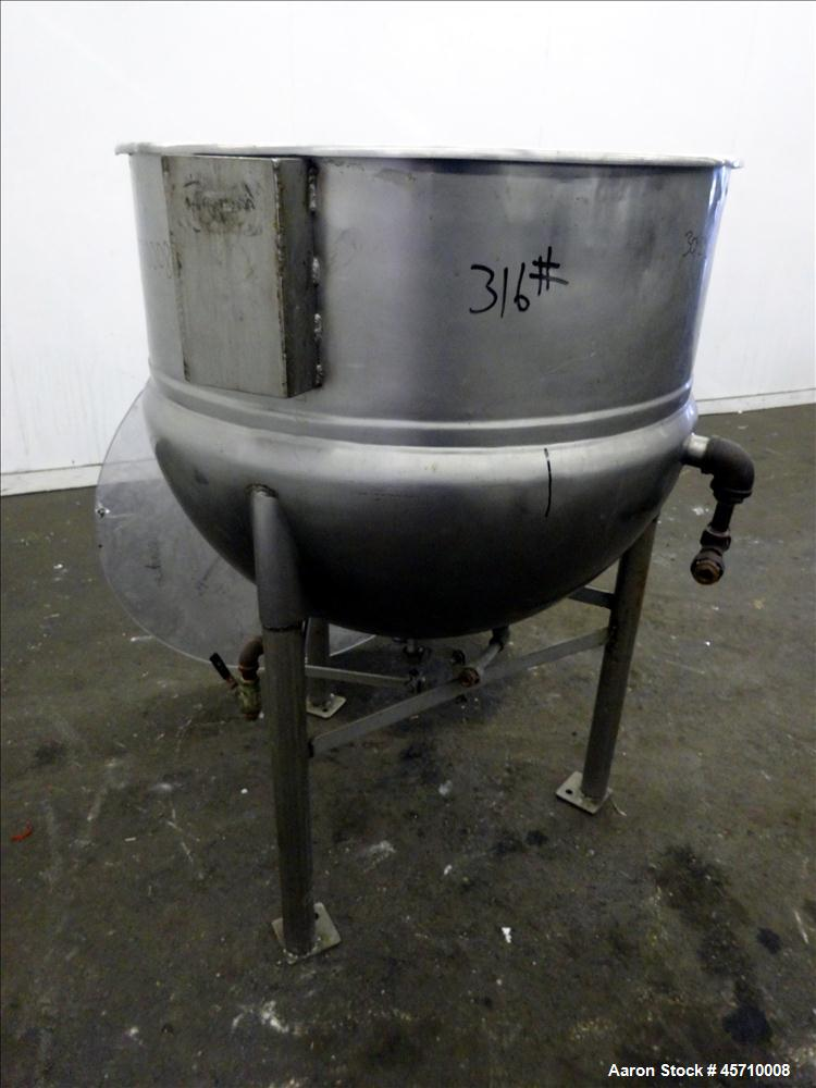 "Used- Lee Metal Products Kettle, 100 Gallon, 304 Stainless Steel. 36"" Diameter x 12"" straight side and 30"" deep. Half Jacket..."