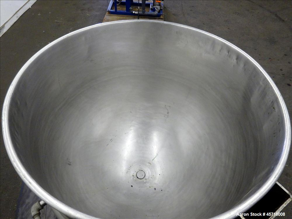 """Used- Lee Metal Products Kettle, 100 Gallon, 304 Stainless Steel. 36"""" Diameter x 12"""" straight side and 30"""" deep. Half Jacket..."""