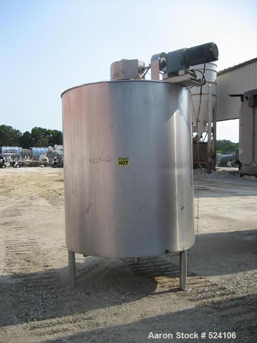 """USED: Lee model 1000-U9MS approximately 1,000 gallon process mix tank.5'8"""" diameter x 6'8"""" straight side. Jacketed for 100 p..."""