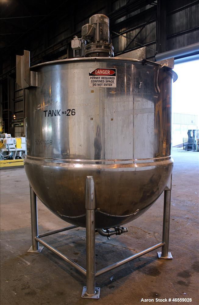 Used- Lee Industries Kettle, 1000 Gallon, Model 1000D10S, 316 Stainless Steel, V
