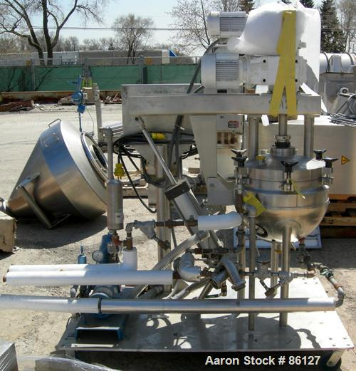 "USED: Lee Industries double motion vacuum kettle, model 10D9MT, 10 gallon, stainless steel, vertical. Approx 18"" diameter x ..."