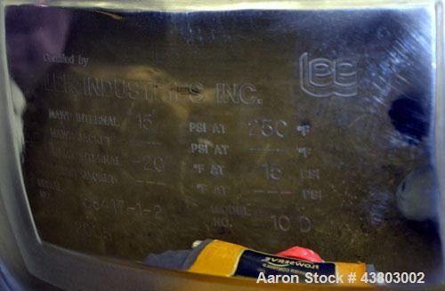 "Used- Lee Industries Vacuum Kettle, Model 10D, 10 Gallon, 316 Stainless Steel, Vertical. Approximately 18"" diameter x 14"" de..."