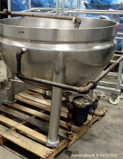 "Used- Lee Braising Kettle, 125 Gallon, Model 125D, Stainless Steel. Approximate 44"" diameter x 26"" deep. Jacket rated 90 psi..."