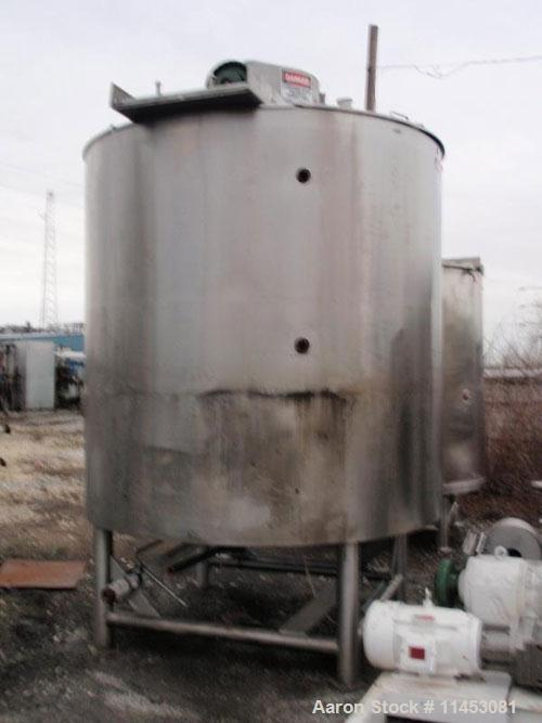 Used-1500 Gallon Lee Double Motion Kettle, Model 1500D9MS. Stainless steel construction, 7' diameter x 7' deep, flat hinged ...