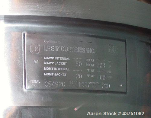 """Used- Lee Industries Vacuum Kettle, Model 20D, 20 Gallon, Stainless Steel, Vertical. Approximately 24"""" diameter. Dished clam..."""