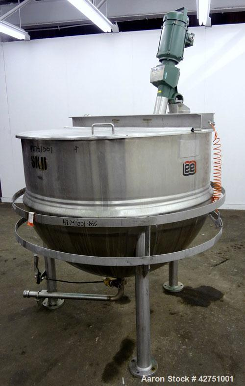 """Used- Lee Industries Kettle, 300 Gallon, Model 300D, 316 Stainless Steel. 54"""" Diameter x 42"""" deep. Open top with a 1/2 hinge..."""
