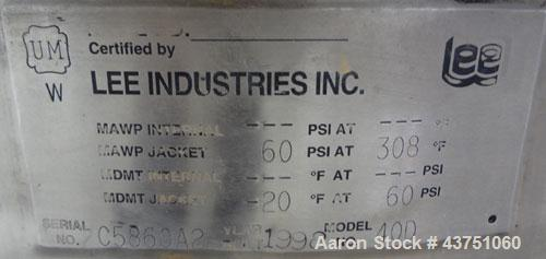 """Used- Lee Industries Kettle, 40 Gallon, Model 40D, 304 Stainless Steel. Approximate 30"""" diameter x 20"""" deep. Clamp down hing..."""
