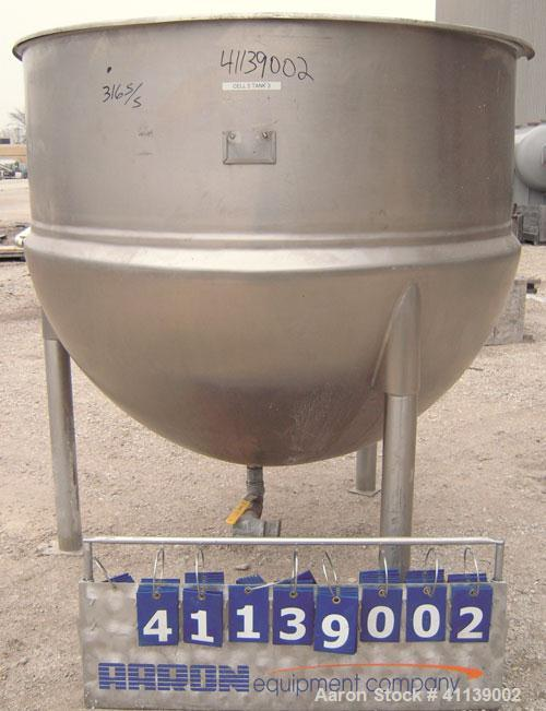 "Used-  Lee Industries Kettle, 500 Gallon, Model 500D, 316 stainless steel, vertical.  62"" diameter x approximately 48"" deep,..."