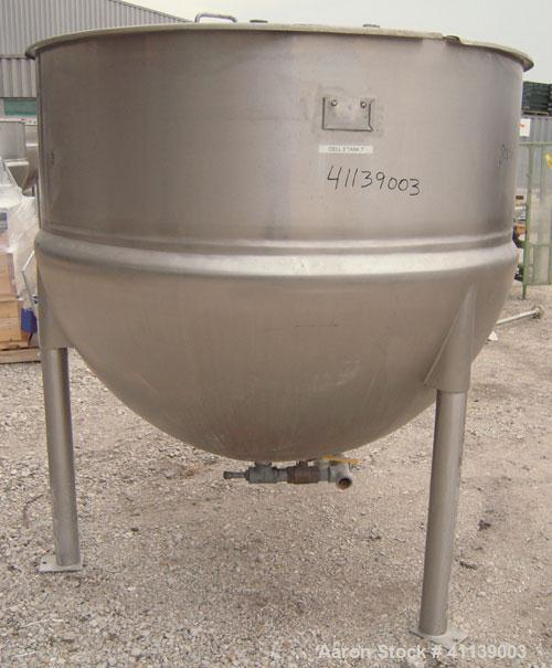 "Used- Lee Industries Kettle, 500 gallon, model 500D, 316 stainless steel, vertical.  62"" diameter x approximately 48"" deep, ..."