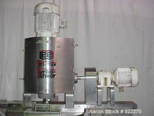 """USED: Lee 50 gallon Tri-Mix turbo shear kettle, stainless steel,jacketed. Approx 2"""" center bottom outlet. Homogenizer mixer ..."""