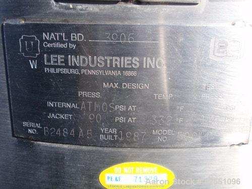 "Used- Lee Industries Kettle, 50 Gallon, Model 50CWD, Stainless Steel. Approximate 30"" diameter x 24"" deep, open top with hin..."