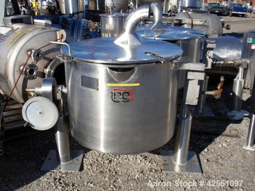 """Used- Lee Industries Kettle, 50 Gallon, Model 50CWD, Stainless Steel. Approximate 30"""" diameter x 24"""" deep, open top with hin..."""