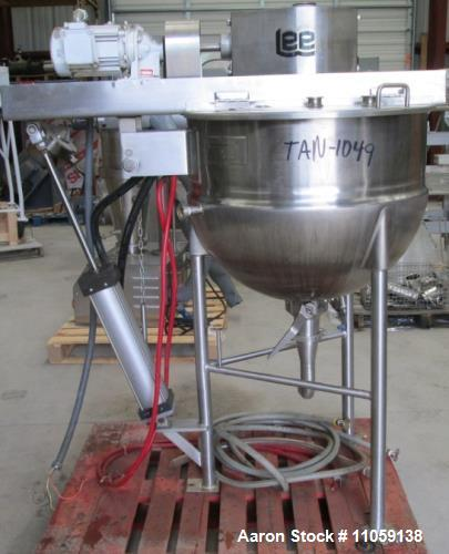 Used- Lee 50 Gallon Double Motion, Jacketed Mix Kettle, Model 50D9MT. Jacket rated 90 PSI at 338 deg. F. Last in food plant ...