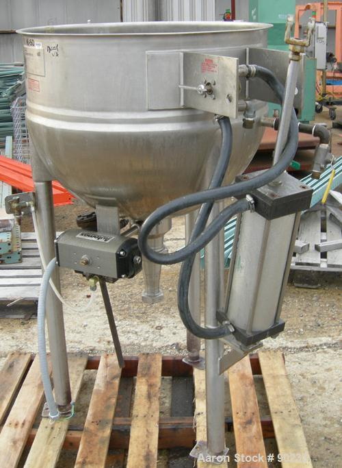 """USED: Lee dual motion kettle, 50 gallon, model 50D9MT, 304 stainless steel, vertical. 29-1/2"""" diameter x 24"""" deep. Jacketed ..."""