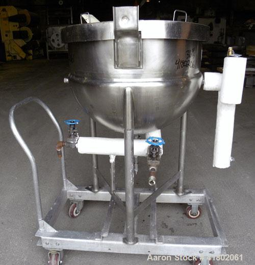 Used- Lee Metal Products Kettle, 50 Gallon, Model 50D, 316 Stainless Steel, Vertical. 30'' diameter x 22'' deep. Open top wi...