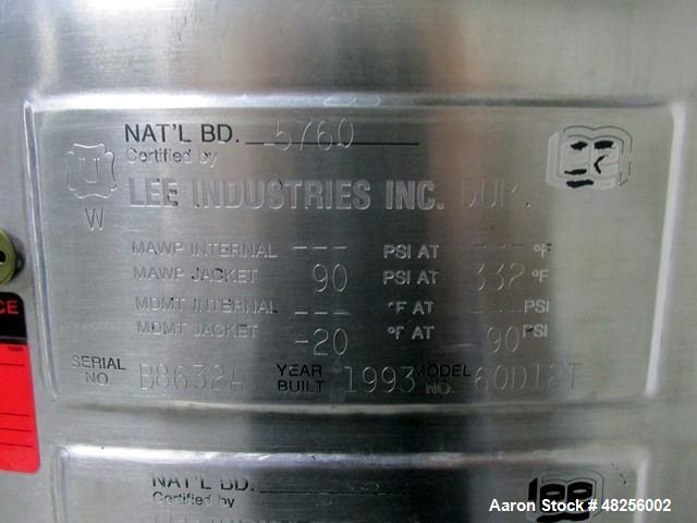 Used- Lee Turbo Emulsifier Kettle, 60 Gallon, Model 60D12J. Stainless steel construction, hinged dish top, hemispherical bot...