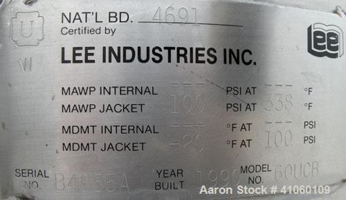 """Used- Lee Industries Kettle, 60 Gallon, Model 60UCB, 316 Stainless Steel, Vertical. 26"""" diameter x 28"""" straight side, open t..."""