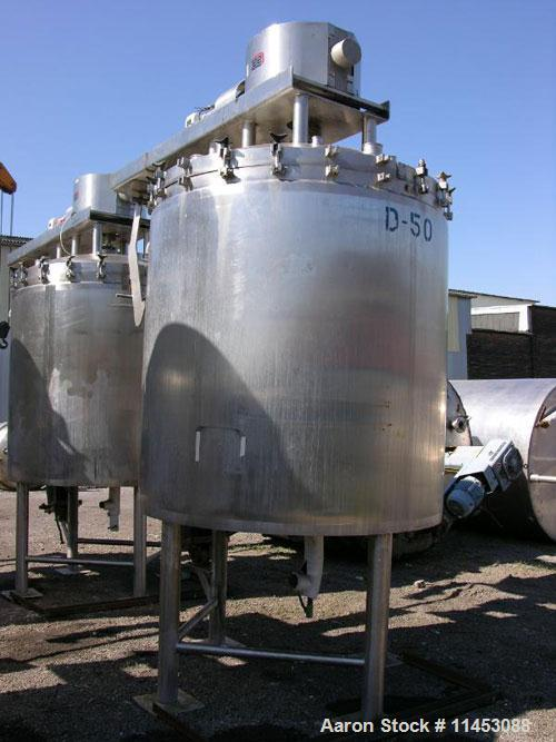 """Used-825 Gallon Lee Industries Double Motion Vacuum Kettle, Model 825D9MT. 316 stainless steel construction, 68"""" diameter x ..."""