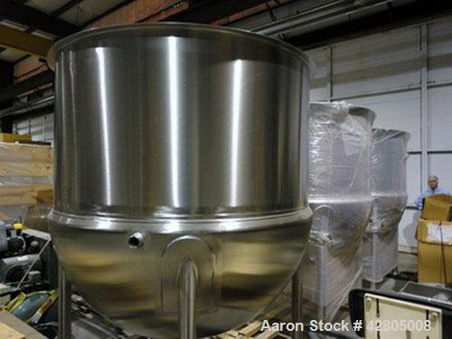 Used- Lee 1,000 Gallon Double Motion Counter-Rotating Scraper Agitated Hemispherical Jacketed 316 Stainless Steel Kettle, Mo...