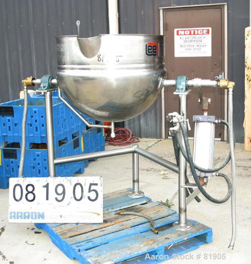 "USED: Lee Trunnion Mounted Kettle, 50 gallon, 316 stainless steel, model DN50. 32"" diameter x 24"" deep. Jacketed hemi bottom..."