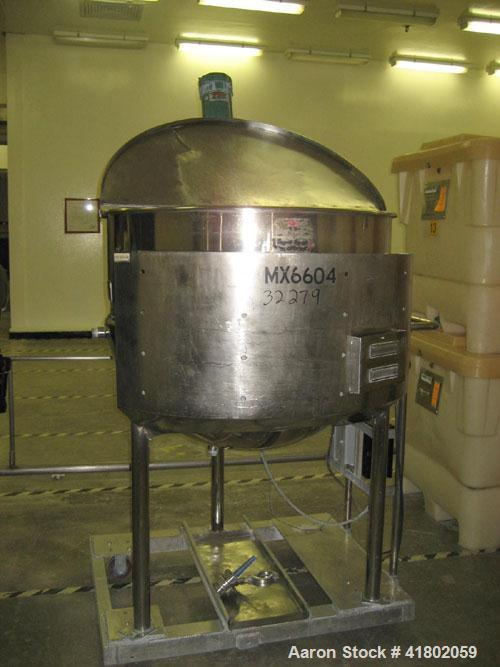 """Used- Lee Industries Kettle, 150 Gallon, Stainless Steel, Vertical. 42"""" diameter x approximately 34"""" deep. Open top with cov..."""