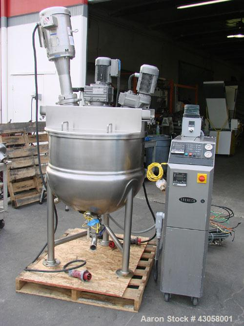 Used-Lee Kettle, 75 gallon, stainless steel. Scraper agitator with hi-speed Scott Turbon high shear mixer, Terlco upright wa...