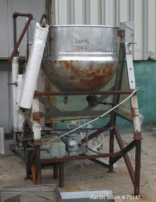 "USED- Lee Kettle, 100 Gallon, 304 Stainless Steel. 36"" diameter x 30"" deep, jacketed hemi-bottom, rated 90 PSI at 330 Degree..."