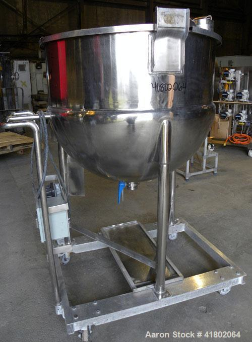 """Used- Lee Metal Products Kettle, 150 Gallon, Model 150D, Stainless Steel, Vertical. 42"""" diameter x approximately 34"""" deep. O..."""