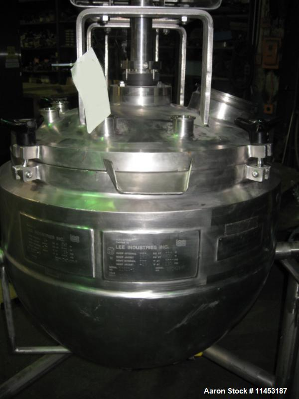 "Used-25 Gallon Lee Double Motion Kettle, Model 25CHD9MT.  Stainless steel construction, 23"" diameter x 20"" deep, dished remo..."