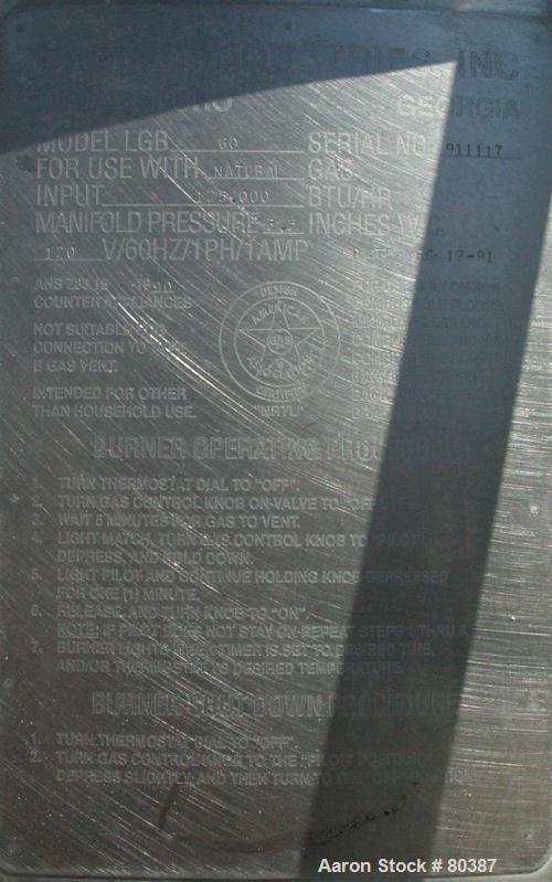 "USED: Legion 60 gallon kettle, 316 stainless steel, model 60. Unit is free-standing, non-tilt type. 29"" diameter x 25"" deep...."