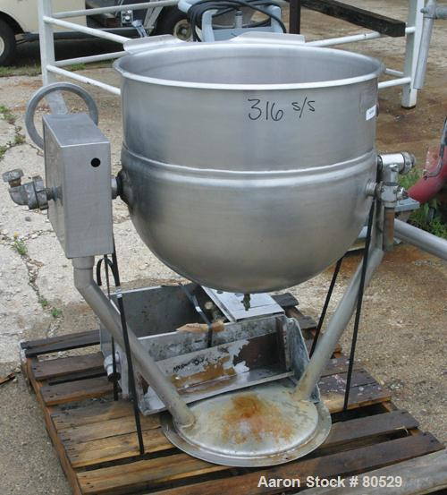 "USED: Legion Industries steam heated kettle, model TWP-40, 40 gallon, 316 stainless steel, vertical. 25-1/2"" diameter x 21"" ..."